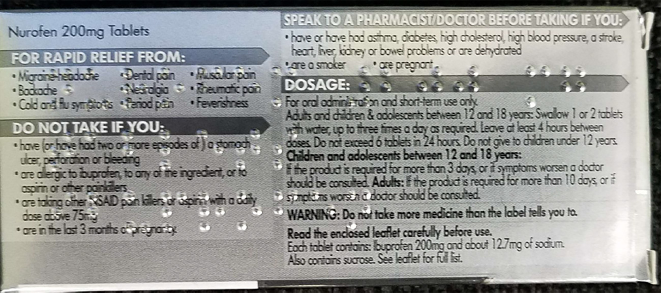 Application example - Reading Braille on a medicine package